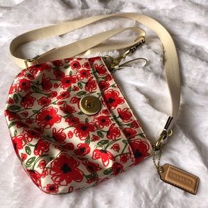 Coach Floral Poppy Crossbody Sateen Red/White